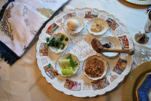 Seder plate prepared for Passover